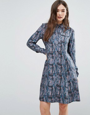 photo Printed Shirt Dress by Lavand, color Blue - Image 1