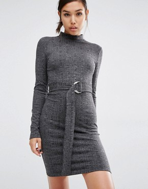 photo D-Ring Belted Bodycon Dress by First & I, color Black Melange - Image 1