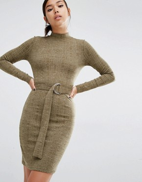photo D-Ring Belted Bodycon Dress by First & I, color Olive Melange - Image 1