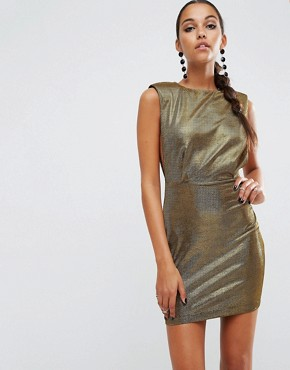photo Shoulder Pad Low Armhole Metallic Mini by ASOS NIGHT, color Gold - Image 2