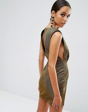 photo Shoulder Pad Low Armhole Metallic Mini by ASOS NIGHT, color Gold - Image 1