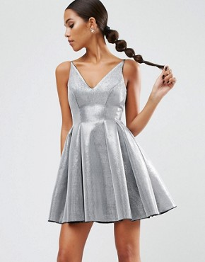 photo High Apex Bonded Mini Prom Dress by ASOS NIGHT, color Silver/Black - Image 1