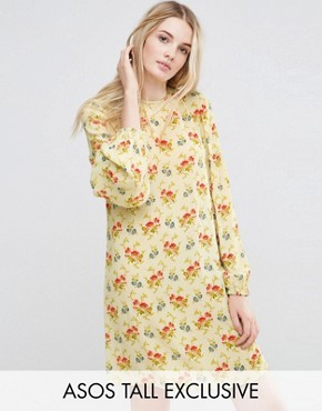 photo Swing Dress in Vintage Floral with Frill Sleeve Detail by ASOS TALL, color  - Image 1