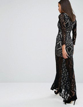 photo Fishtail Maxi Dress in Allover Lace by Love Triangle, color Black - Image 2