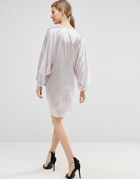 photo Metallic Oversized Mini Dress by ASOS Maternity, color Grey - Image 2