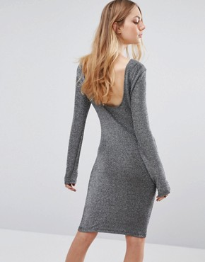 photo Fever Lurex Bodycon Dress by Blend She, color Silver - Image 2