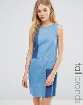 photo Patchwork Denim Dress by Vero Moda Tall, color Mid Denim Blue - Image 1