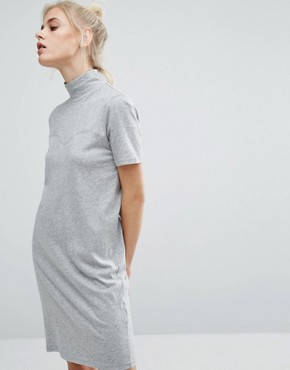 photo High Neck T-Shirt Dress by Cheap Monday, color Grey - Image 1