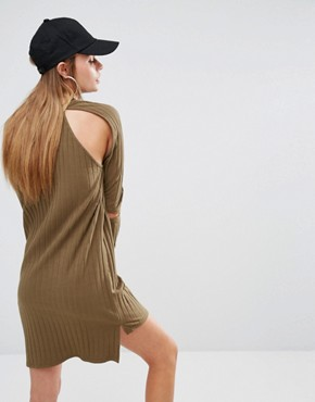photo Rib Knit Cold Shoulder Dress by First Base, color Khaki - Image 1