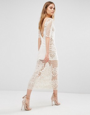 photo Gracey Ivory Crochet Midi Dress by For Love and Lemons, color Cream - Image 2