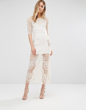 photo Gracey Ivory Crochet Midi Dress by For Love and Lemons, color Cream - Image 1