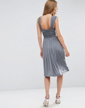 photo Slinky Ruched Midi Dress by ASOS WEDDING, color Grey - Image 2