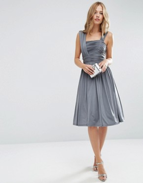 photo Slinky Ruched Midi Dress by ASOS WEDDING, color Grey - Image 1