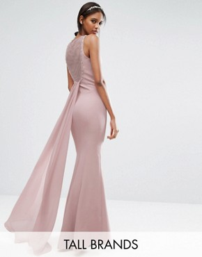 photo Open Back Pleated Train Maxi Dress by Little Mistress Tall, color Pink - Image 1