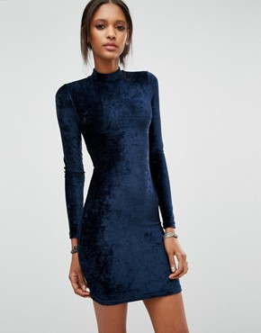 photo Open Back Velvet Bodycon Dress by Noisy May Tall, color Navy - Image 2