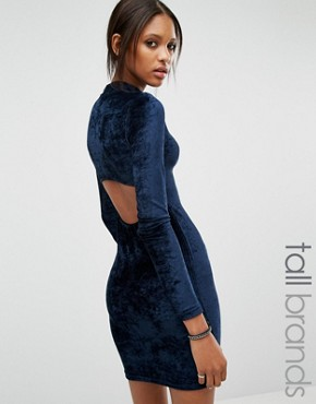 photo Open Back Velvet Bodycon Dress by Noisy May Tall, color Navy - Image 1