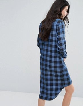 photo Oversized Check Shirt Dress by Noisy May Tall, color Blue/Black - Image 2