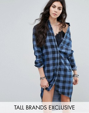 photo Oversized Check Shirt Dress by Noisy May Tall, color Blue/Black - Image 1