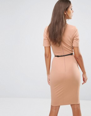 photo 1/2 Sleeve Pencil Dress with Belt and Keyhole Detail by Paper Dolls Tall, color Camel - Image 2