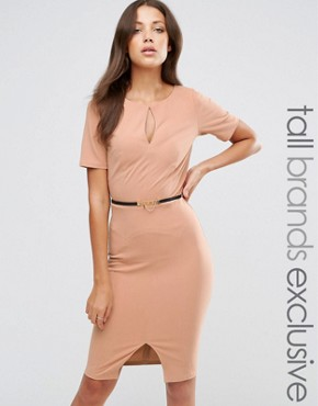 photo 1/2 Sleeve Pencil Dress with Belt and Keyhole Detail by Paper Dolls Tall, color Camel - Image 1