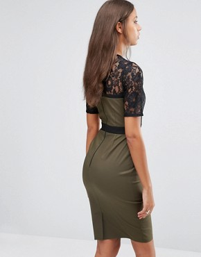 photo Pencil Dress with Lace Bodice and Sleeves by Paper Dolls Tall, color Khaki - Image 2