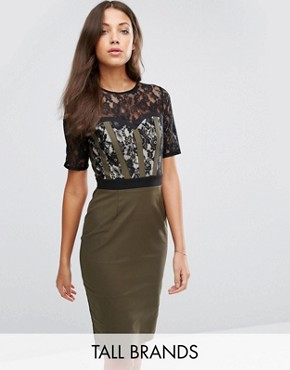 photo Pencil Dress with Lace Bodice and Sleeves by Paper Dolls Tall, color Khaki - Image 1