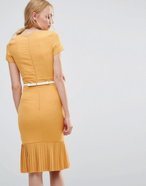 photo Pencil Dress with Pleated Hem by Paper Dolls Tall, color Mustard - Image 2