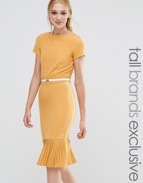 photo Pencil Dress with Pleated Hem by Paper Dolls Tall, color Mustard - Image 1