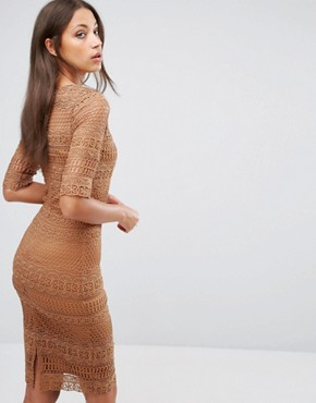 photo 1/2 Sleeve All Over Lace Pencil Dress by Paper Dolls Tall, color Camel - Image 2