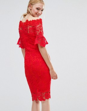 photo Bardot Cutwork Lace Pencil Dress by Paper Dolls Tall, color Red - Image 2