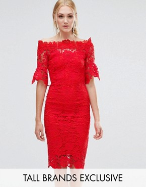 photo Bardot Cutwork Lace Pencil Dress by Paper Dolls Tall, color Red - Image 1