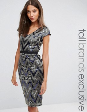 photo V Neck Cap Sleeve All Over Sequin Pencil Dress by Paper Dolls Tall, color Silver - Image 1