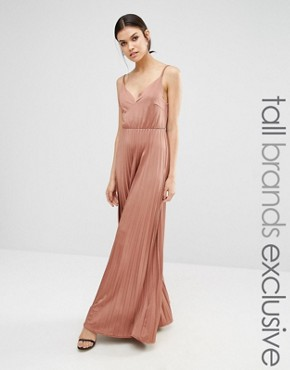 photo Plunge Front Maxi Dress with Pleated Skirt by True Decadence Tall, color Rose Pink - Image 1