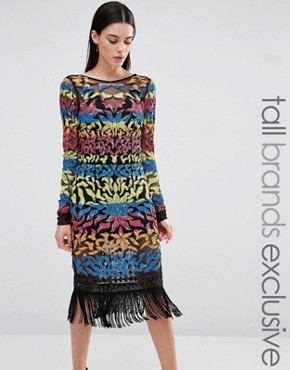 photo Long Sleeve Multi Colour Sequin Mini with Tassel Hem by Maya Tall, color  - Image 1