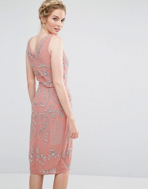 photo All Over Embellished Midi Dress with Wrap Detail Skirt by Maya Tall, color Rose Pink - Image 2