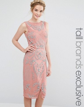 photo All Over Embellished Midi Dress with Wrap Detail Skirt by Maya Tall, color Rose Pink - Image 1