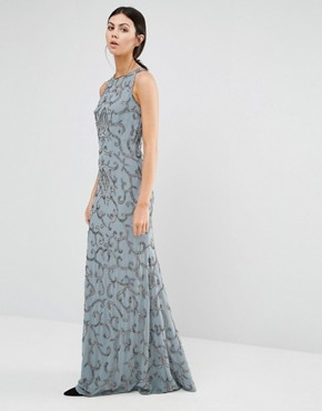 photo All Over Sequin Patterned Maxi with Backless Detail by Maya Tall, color Grey - Image 2
