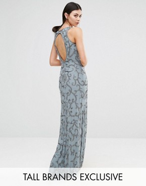 photo All Over Sequin Patterned Maxi with Backless Detail by Maya Tall, color Grey - Image 1
