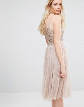 photo Cami Strap Midi Dress with Tulle Skirt and Embellishment by Maya Tall, color Caramel - Image 2
