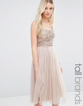 photo Cami Strap Midi Dress with Tulle Skirt and Embellishment by Maya Tall, color Caramel - Image 1