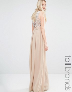 photo Delicate Maxi Dress with Embellished Back by Maya Tall, color Mink - Image 1