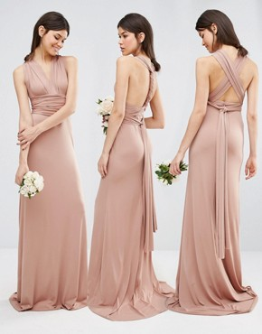 photo Multiway Fishtail Maxi Dress by TFNC Tall Wedding, color Brush - Image 1