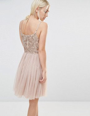photo Cami Strap Mini Dress with Tulle Skirt and Embellishment by Maya Petite, color Caramel - Image 2