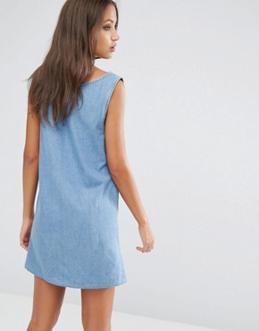 photo Patchwork Denim Dress by Liquor & Poker Tall, color Midwash Blue - Image 2