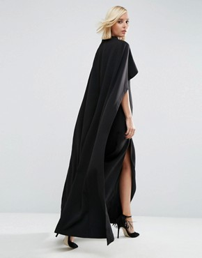 photo Maxi Dress with Cape Detail by ASOS WHITE, color Black - Image 2