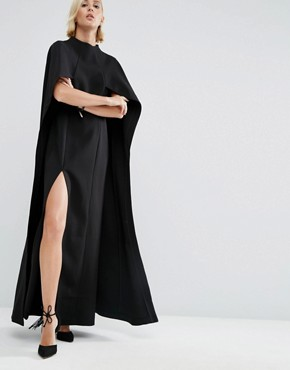 photo Maxi Dress with Cape Detail by ASOS WHITE, color Black - Image 1