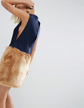 photo Mini Dress With Faux Fur Skirt by ASOS WHITE, color  - Image 2