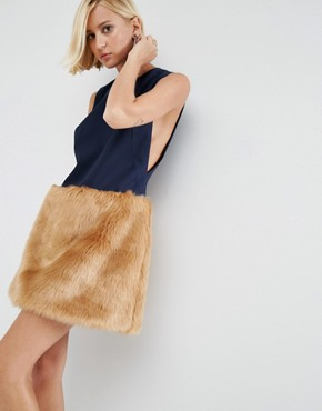 photo Mini Dress With Faux Fur Skirt by ASOS WHITE, color  - Image 1