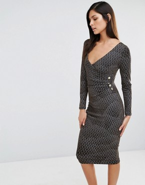 photo Printed Cross Front Pencil Dress by Vesper, color Gold Feather - Image 1