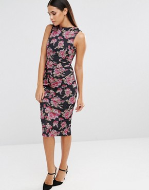 photo Sleeveless Floral Print Pencil Dress with Ruching Detail by Vesper, color Pink Tapestry - Image 1